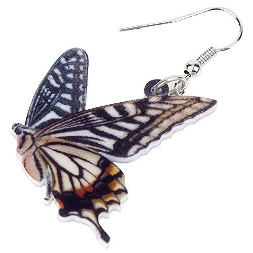 XUBB Acryl Schmetterlingsohrringe Big Drop Symmetrischer Insektenschmuck für Frauen Mädchen Damen Geschenk