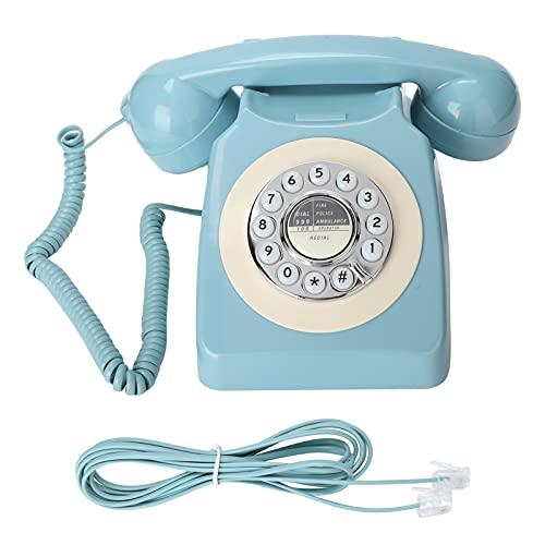 Garsentx Teléfono Fijo Retro, diseño rotativo de Estilo clásico de los años 80, teléfono de Escritorio Antiguo con Cable y función de Control de Volumen de marcación para Oficina en casa, Azul