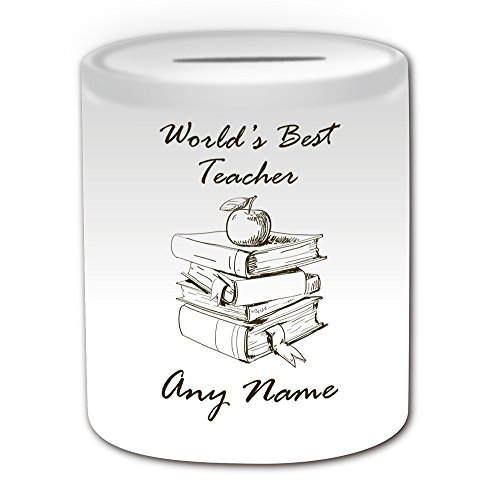 UNIGIFT gepersonaliseerd cadeau - 's werelds beste leraar/Apple op boeken schets Money Box (Academic Design Theme, wit) - Naam/boodschap op uw unieke - Spaar Piggy Bank - School College University