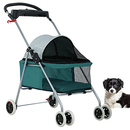 BestPet Pet Stroller Cat Dog Stroller Travel Folding Carrier,Teal