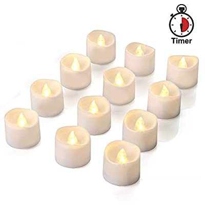 AMAGIC Timer Tea Lights 12 Pack, Flameless Flickering LED Tea Light Candles for Halloween Pumpkin Decor, 6 Hours on and 18 Hours Off, Warm White, D1.4'' H1.25'', Much More Convenient