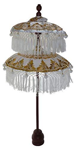 generisch Schirm aus Bali, Tempelschirm, Weiss 114cm