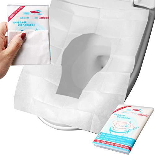 Copriwater usa e getta di carta igienica – 50 confezioni extra large antiscivolo da viaggio, confezionate singolarmente, impermeabile, portatile, per bambini, adulti e donne in gravidanza