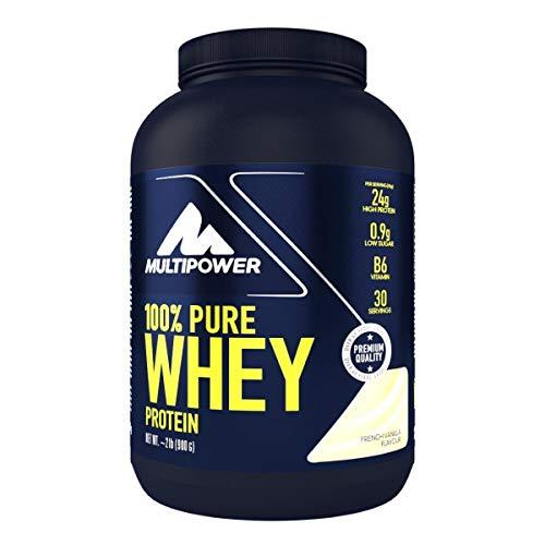 Multipower 100% Pure Whey Protein – wasserlösliches Proteinpulver mit Vanille Geschmack –  Eiweißpulver mit Whey Isolate als Hauptquelle – Vitamin B6 und hohem BCAA-Anteil – 900 g