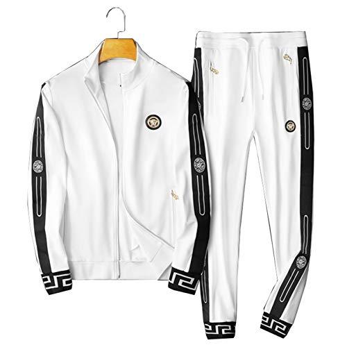 GOLOFEA Conjunto de chándal para hombre, sudadera con pantalones deportivos de manga larga con cremallera para correr, pantalones deportivos, color blanco-XXXL