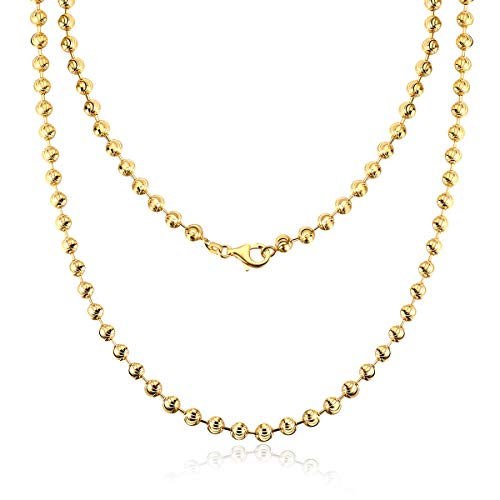 AINUOSHI 2.0-5.0mm Moon Cut Chain Necklace Yellow Gold Plated Sterling Silver Bead Ball Chain Necklace for Men & Women, 16-28 Inches (16 inches, 2.5mm)