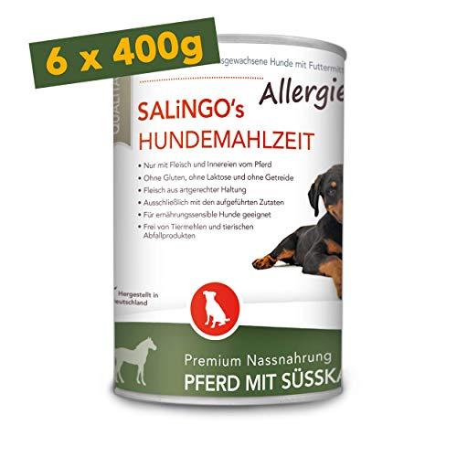 SALiNGO Premium Nassfutter für Hunde | Pferd mit Süßkartoffel & Zucchini | getreidefrei | Single Protein | hypoallergen | 6x400g