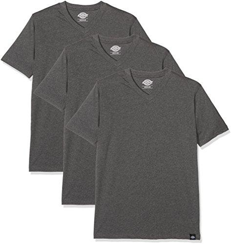 Dickies Herren Langarmshirt Streetwear Male T-Shirt V Neck Pack, Drk Grey Mel, M