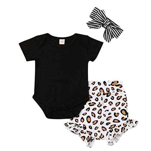 3 PCS Ragazza Completino,Neonato Cartoon Leopardo Pagliaccetto + Pantaloncini con Corno + Strisce Fascia,da 0 A 24 Mesi Bambina (6-12 Mesi, Nero (Maniche Corte))
