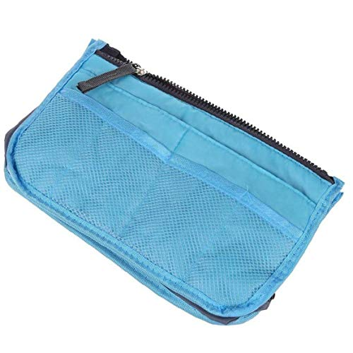 Odoukey Multi Functional Thickened Carrying Bag Storage Bag Large Capacity Portable Liner Finishing Travel Cosmetics Pocket Insert 12 Pockets Blue