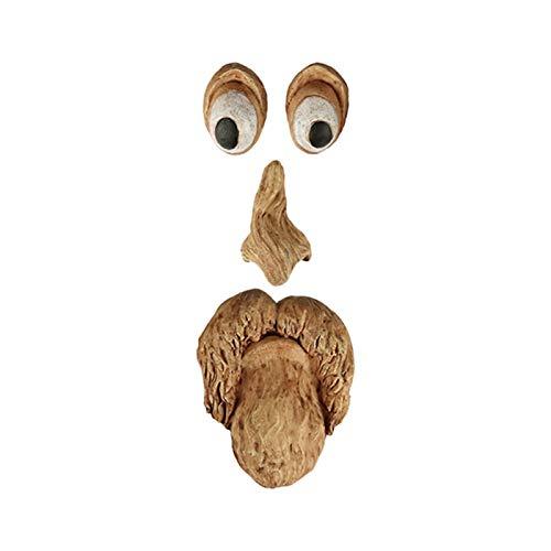 CYRISR Old Mann - Escultura de cara de árbol, cara de árbol, cara de árbol, decoración para exterior, interior, hogar, baño, hogar (D)