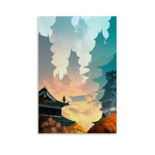 Sekiro Warrior Samurai Espada Ninja Arte de pared para sala de estar, pintura moderna para dormitorio familiar, póster de decoración de imagen impresa con imagen decorativa de 20 x 30 cm