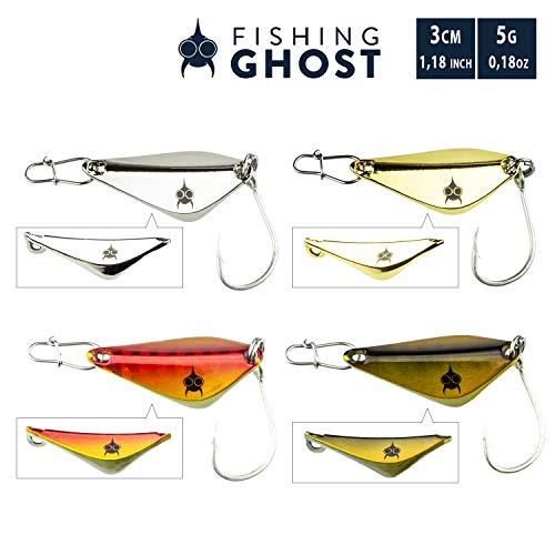 FISHINGGHOST® Spoon Set Stanza 5gr, 3cm - Spoon zum Angeln auf Seeforelle, Meerforelle, Zander, Hecht - einzigartige Form (4 Farben mit je 1 Karabiner)