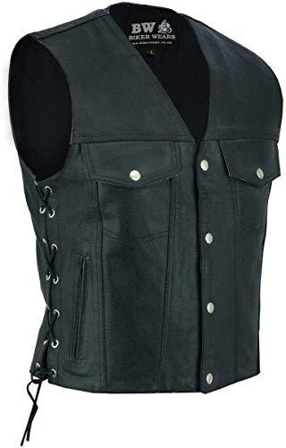 Biker Wears Chaleco de cuero real chaleco chaqueta botón lateral con cordones pescado gancho 2 y 4 bolsillos para hombre moto motorista moda