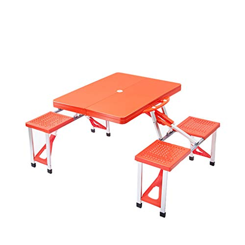 XIAOLVSHANGHANG CJ Table Pliante Siamois en Alliage d'aluminium extérieur et Chaise 1 Tabouret de Table 4 (Couleur : Orange)