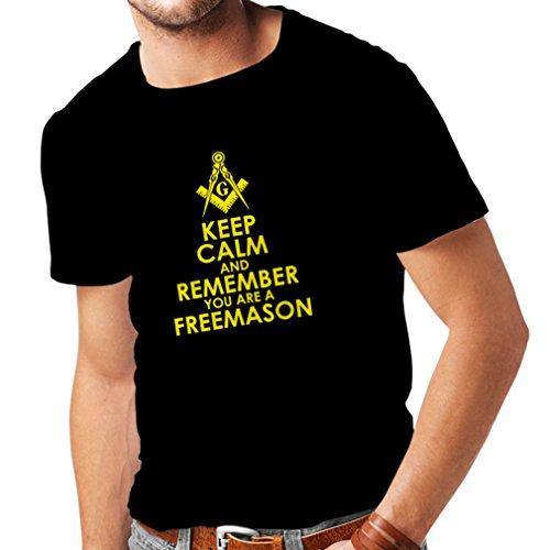 lepni.me Camisetas Hombre Recuerda Que Eres un Freemason Cuadrado y brújula Logotipo masónico (Medium Negro Amarillo)