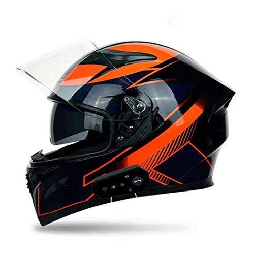 ABDOMINAL WHEEL Bluetooth Casco Integral Moto,Modular Casco Integral Moto con Parasol Doble antivaho,ECE Homologado Unisexo con Doble Visera con Función de Respuesta Automática Casco Moto F,M=55~57CM