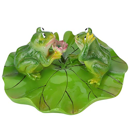 Atyhao Aquarium Decoratie, kunstmatige drijvende water lotus bladeren kikker dier vijver aquarium decoratie landschap ornament