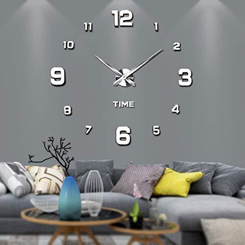 Vangold Moderne Mute DIY große Wanduhr 3D Aufkleber Home Office Decor Geschenk (Silber-22)