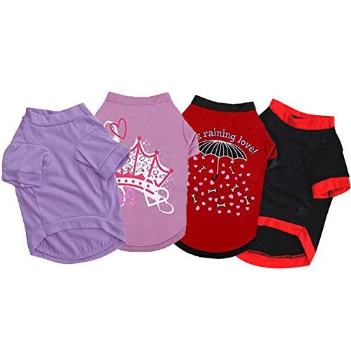 Coversolat 4er Pack Set Hundeshirt für Kleine Hunde Hundekleidung Sommer Minimalistisches Hunde T-Shirt