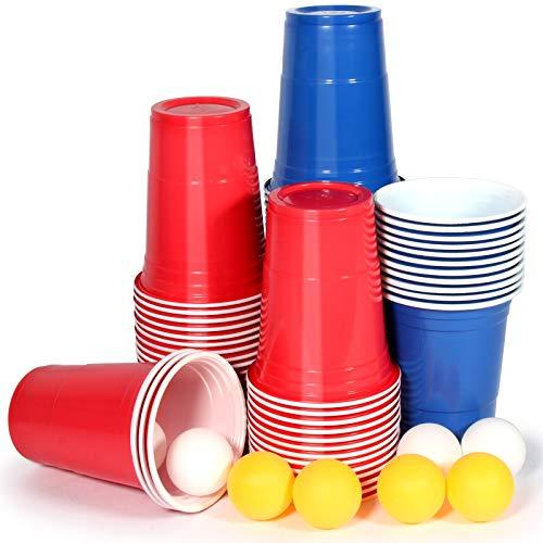 Upchase Beer Pong Becher, Bierpong Partybecher Sets (100 Becher 10 Bällen), 473ml Bierpong Cups mit Bällen, Plastikbecher Rot und Blau 16oZ, für Weihnachten Geburtstag Festivals Hochzeit