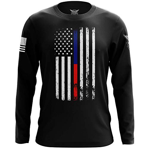 We The People Holsters - American Flag - Thin Blue/Red Line - Support Law Enforcement Shirt - Long Sleeve T Shirt - Thin Red and Blue Line Shirt - American Flag Patriotic Shirt - Black - XL