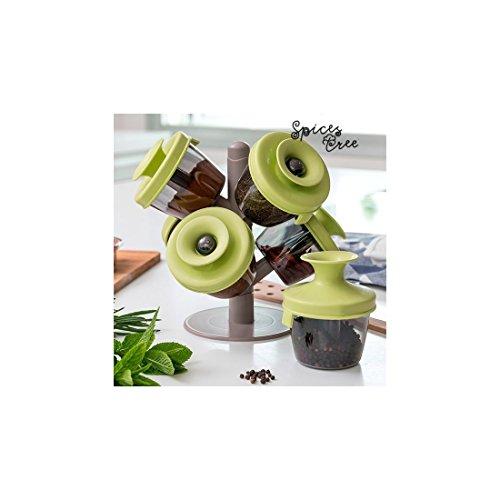 Appetitissime Spices Tree Étagère à épices, Vert, 22.5 x 24 x 10 cm, 7 pièces