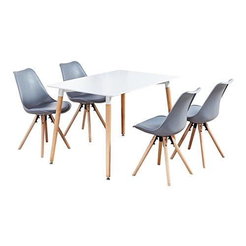 P&N Homewares Sophie Ensemble de Salle à Manger, Gris, Table Dimensions: H75 x D120 x W80 cm