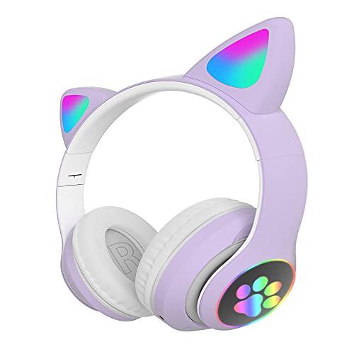 Auriculares Bluetooth Plegables con Orejas de Gato, AudíFonos InaláMbricos Juegos Hi-Fi EstéReo Luces RespiracióN RGB ReproduccióN de MúSica 10H, SincronizacióN Sin Demoras, para Adulto(Color: