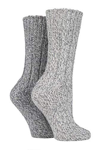Sock Shop 2 Pares Hombre y Mujer Gris Invierno Gruesos Calcetines Lana para Botas (39/45, SS131 Dark)