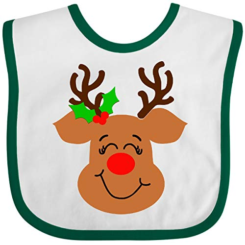 Inktastic Cute Reindeer with Red Nose and Holly Baby Bib White and Green 3cfcc