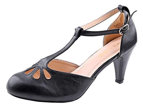 Chase & Chloe Damen-Schuhe, tropfenförmig, mit T-Riemen, Rot, Schwarz (schwarz), 36 EU
