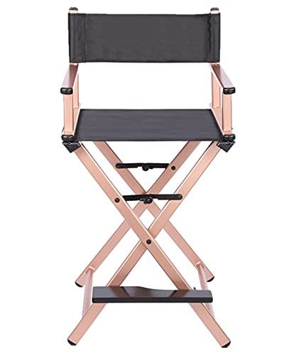 Sedia da Regista in Alluminio, Poltrona da Campeggio Pieghevole Pesante Sedia da Campeggio Sedia per Trucco con poggiapiedi, per Makeup Studio Artists Film Amministratori,Rose Gold