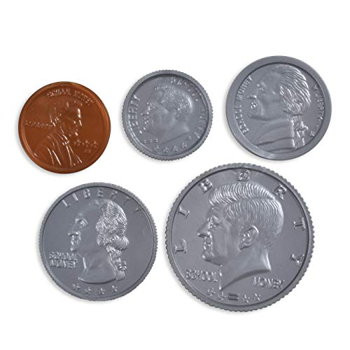 LEARNING ADVANTAGE Play Coin Set - 30 Pennies, 20 Nickels, 20 Dimes, 20 Quarters and 4 Half-Dollars - Realistic Coins for Pretend Play