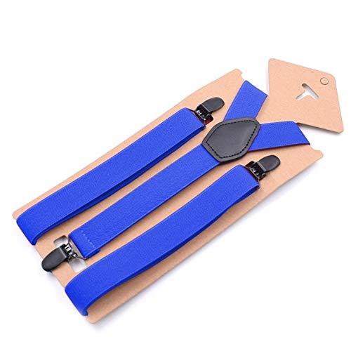 DAHDXD Bretelles Homme Accolades Girl Suspenders Set Casual Cuir Homme Vintage Noir Pantalons Bracelet Mode Suspenders Bretelles (Color : Blue)