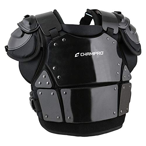 CHAMPRO Pro-Plus Plate Armor Baseball/Softball Chest Protector for Adult Umpires in 3 Sizes, BLACK, ADULT XL (16'H)