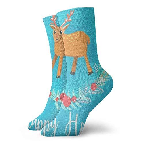 Crew Socks Christmas Deer Animals Design Athletic Special Cushion Short Boot Stocking 30CM
