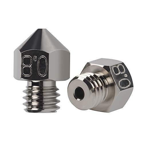 2 boquillas MK8 plateadas resistentes al desgaste duraderas antiadherentes 0,8 mm para Creality CR-10 Ender 3 Pro Ender 5, CraftBot, BQ Witbox, BQ Prusa I3 Hephestos 3D uso de impresora (2 x 0,8)