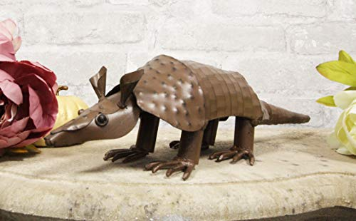 Ebros Western Rustic Forest Hand Sculpted Metal Springy Armadillo Statue 15.5' Long Cabin Lodge Decor Outdoor Garden Yard Figurine Decorative Home Art Accent Centerpiece
