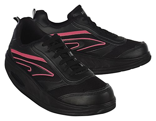 Fitness Step Neon Pink - Zapatillas tonificadoras para Mujer, Color Negro/Rosa, Talla 39