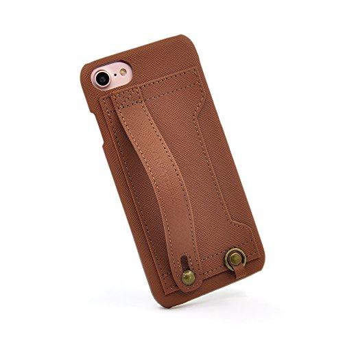 【HANATORA】 iPhone 8/iPhone 7 対応 Handy PUレザー ハードケース ブラウン H6-7-Brown