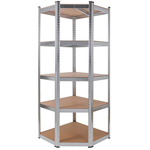 AREBOS Eckregal Schwerlastregal Steckregal 875kg / Einfache Montage durch Stecksystem / 70x70x180 cm / 5 Böden aus MDF/bis zu 175 kg pro Regalboden/Verzinkt