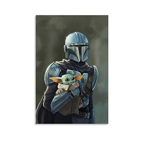 SSKJTC Decoración de pared de Star Wars The Mandalorian Din Djarin y Baby Yoda Poster de oficina Art Wall Decor 40 x 60 cm