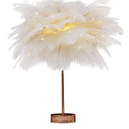 GOUER Luz nocturna naranja con plumas artificiales, romántica lámpara de noche LED para salón, dormitorio, cómoda fiesta, habitación de los niños, regalo de Navidad