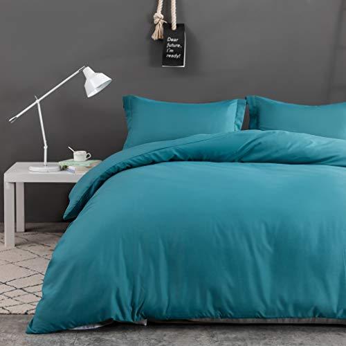 MOHAP Non-Iron Duvet Cover Set 3 PCS Double Plain Brushed Microfiber Bedding Duvet Cover with Pillowcases (Teal)