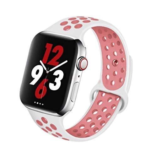 SENDORFF Move - Correa de silicona para Apple Watch (38 mm/40 mm, talla S, color blanco y rosa)