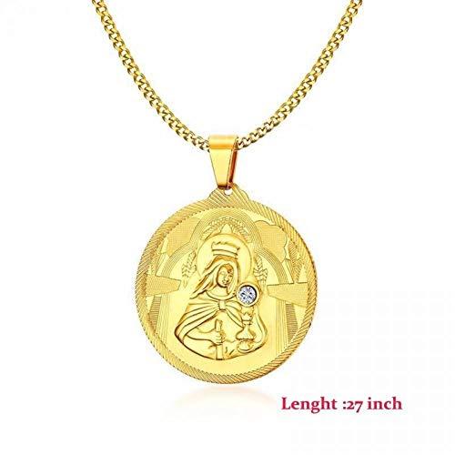 Herren Halskette Herren Golden Jesus Runde Anhänger Halskette Edelstahl Jungfrau Maria Halsketten Schmuck