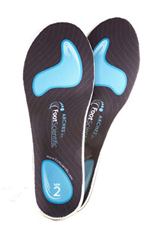 FootScientific® Arches Type 1 (Flat Feet) Orthotic Shoe Insoles, Men's Size 5-5.5 / Women's Size 7-7.5