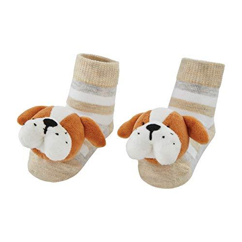 Mud Pie Baby Dog Rattle Toe Socks, Bulldog, 0-12 Months