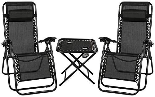 Sun Lounger Set of 2, Folding Recliner Zero Gravity Garden Chair with Table and Adjustable Head Pillow - Outdoor Chair for Garden Patio (black)